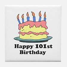 Happy 101st Birthday Tile Coaster