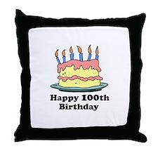 Happy 100th Birthday Throw Pillow