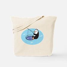 Cute Ice Fishing Penguin Tote Bag