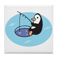 Cute Ice Fishing Penguin Tile Coaster