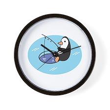 Cute Ice Fishing Penguin Wall Clock