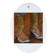 Cute Cowboy boots Oval Ornament
