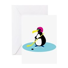 Cute Hockey Playing Penguin Greeting Card