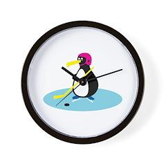 Cute Hockey Playing Penguin Wall Clock