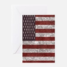 Old leather American flag Greeting Cards