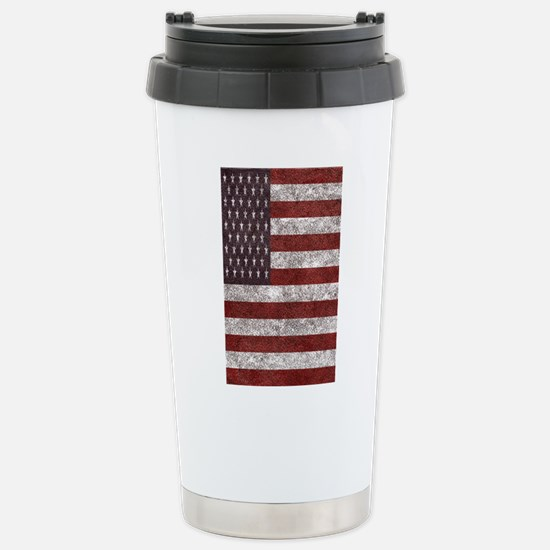 Old leather American flag Travel Mug