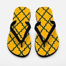 Moroccan Quatrefoil Pattern: Green & Ye Flip Flops