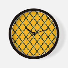 Moroccan Quatrefoil Pattern: Green & Ye Wall Clock