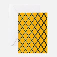 Moroccan Quatrefoil Pattern: Green & Greeting Card
