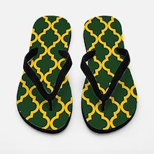 Moroccan Quatrefoil Pattern: Yellow & G Flip Flops