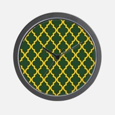 Moroccan Quatrefoil Pattern: Yellow & G Wall Clock