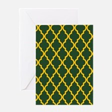 Moroccan Quatrefoil Pattern: Yellow Greeting Card