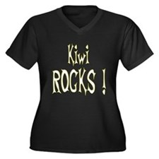 Kiwi Rocks ! Women's Plus Size V-Neck Dark T-Shirt