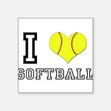I Heart (Love) Softball Rectangle Sticker