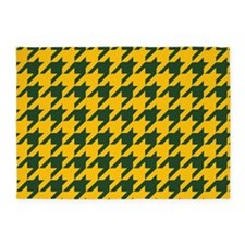 Houndstooth Checkered: Green & Yell 5'x7'Area Rug