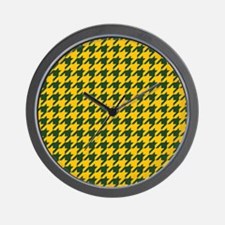 Houndstooth Checkered: Green & Yellow Wall Clock