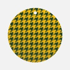 Houndstooth Checkered: Green & Yell Round Ornament
