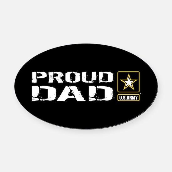 U.S. Army: Proud Dad (Black) Oval Car Magnet