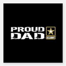"U.S. Army: Proud Dad (Bl Square Car Magnet 3"" x 3"""