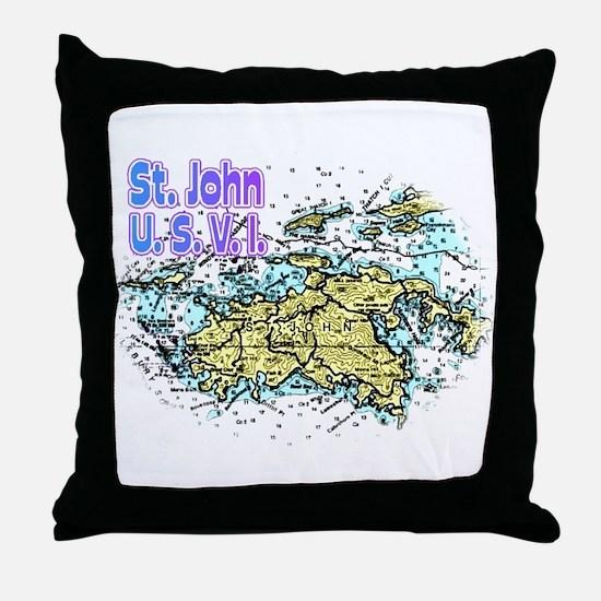 St. John U.S.V.I. chart Throw Pillow