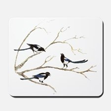 Watercolor Magpie Bird Family Mousepad