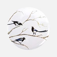 Watercolor Magpie Bird Family Button