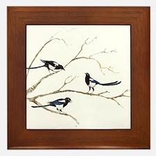 Watercolor Magpie Bird Family Framed Tile