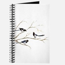 Watercolor Magpie Bird Family Journal