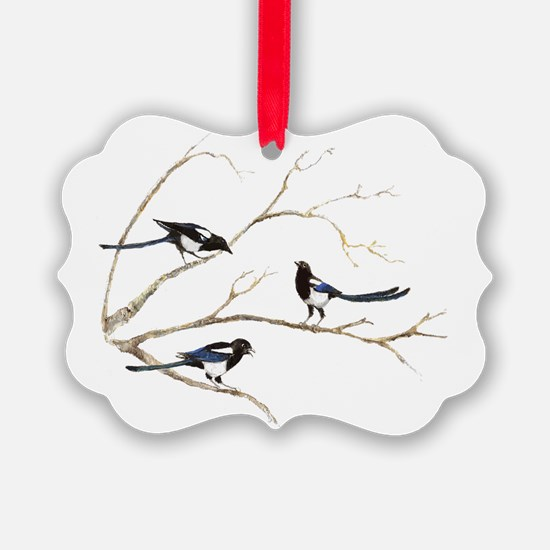Watercolor Magpie Bird Family Ornament