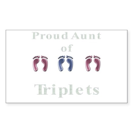 Aunt of Triplets Rectangle Sticker