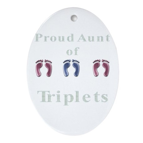 Aunt of Triplets Oval Ornament