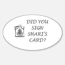 Shari's Card Oval Decal