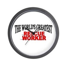 """The World's Greatest Rescue Worker"" Wall Clock"
