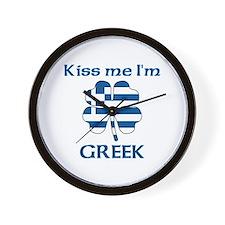 Kiss Me I'm Greek Wall Clock