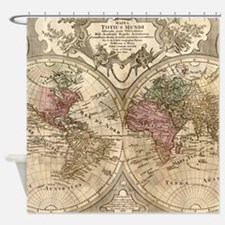 Vintage Map of The World (1775) 3 Shower Curtain
