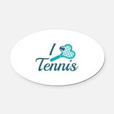 I Love Tennis Oval Car Magnet