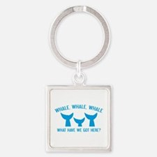 Whale Whale Whale Square Keychain