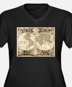 Vintage Map of The World (1702) Plus Size T-Shirt