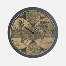 Vintage Map of The World (1702) 3 Wall Clock