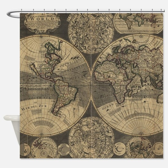 Vintage Map of The World (1702) 3 Shower Curtain