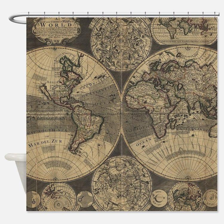 Antique map shower curtains antique map fabric shower curtain liner - Old world map shower curtain ...