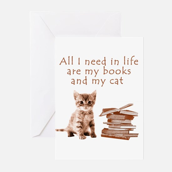 Cats and books Greeting Cards
