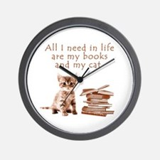 Cats and books Wall Clock