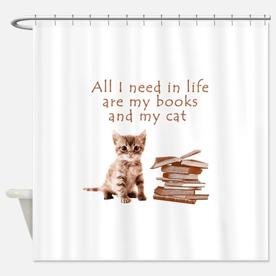 Cats and books Shower Curtain