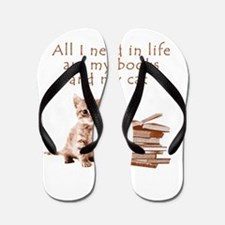 Cats and books Flip Flops