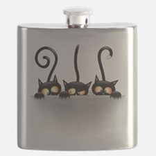 Three Naughty Playful Kitties Flask