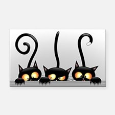 Three Naughty Playful Kitties Rectangle Car Magnet