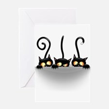 Three Naughty Playful Kitties Greeting Cards