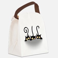 Three Naughty Playful Kitties Canvas Lunch Bag
