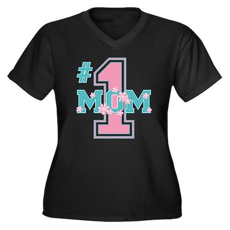 #1 Mom Pink Vneck Dark Plus Size T-Shirt